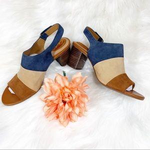 Clarks Artisan Suede Sandals Peep Toe Heels Size 9